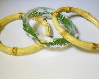 "Tiki Real Fern and Bamboo Bangle Set M 2.48-3"" inner diameter"