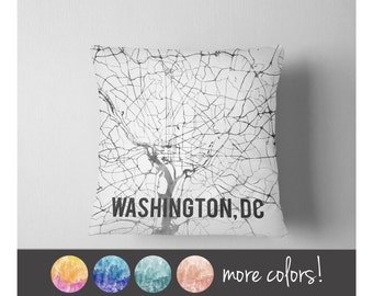Watercolor Washington DC map throw pillow