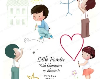 Little Painter, Digital Clip Art, Kids Characters,