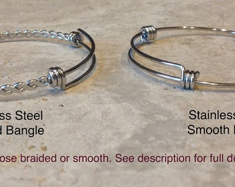 Stainless Steel - Expandable Silver Bangle Bracelet