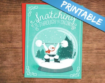 Printable Weightlifting Christmas Cards - Digital PDF Print Your Own! Snatching Snowman Holiday Greeting Card
