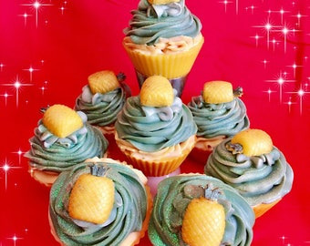Pineapple Soap Cupcakes!! / Soap/ Cupcakes/ Party Favors/ Handmade Soap