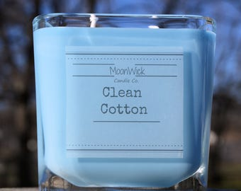 Clean Cotton Natural Soy Candle   12oz Square Glass   Highly Scented   Clean Cotton   Clean Cotton Candle   Cotton Candle   Fresh Soy Candle