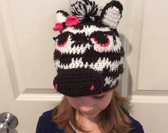girl zebra hat