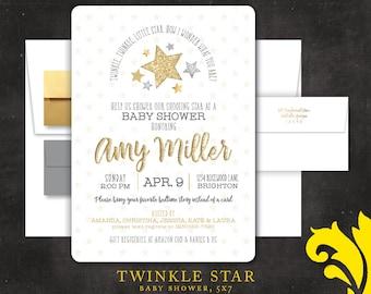 TWINKLE STAR .  baby shower invitation