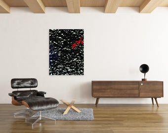 Canvas painting art red black modern abstract canvas contemporary street art spray