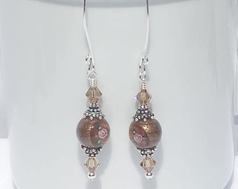 Czech glass, Swarovski crystal and sterling silver earrings