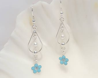 Sterling silver and Swarovski crystal and pearl earrings