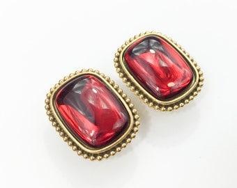 80s YSL Red Earrings | Red Glass & Gold Clip Earrings