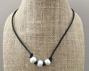 Leather And Freshwater Pearl Necklace Triple Freshwater Pearls Style Dark Brown Leather Necklace Choker