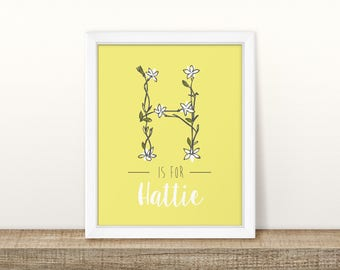 Daisy Initial (Yellow) - Personalised Nursery Print - Children's Wall Art - Baby Nursery Decor