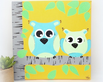 OWL OWL for child baby, turquoise room green yellow 'Forest grey', 30x30cm, canvas for child