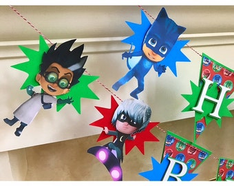 Revised Pj Mask Banner 6 Characters, Colorful Pj Mask Banner, PJ Masks Birthday Banner - PJ Masks Birthday Party- PJ Masks Birthday Theme-