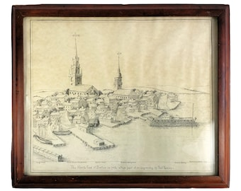 Framed Original 1925 Ethel Stanwood Bolton Lithograph North End Boston in 1768