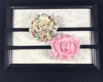 Set of Two - Nylon Headbands - Nylon Flower Headbands - Little Girls Headband Set