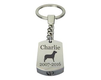Personalised Dog Pet Urn Keychain - Memorial Ash Keepsake Jewellery - Personalised Engraved