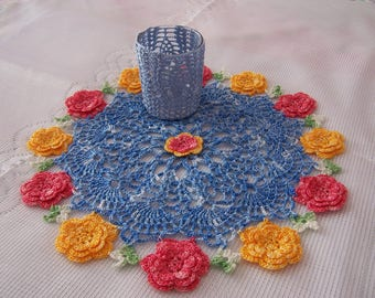 Unique Hand Crocheted Blue & Floral Doily