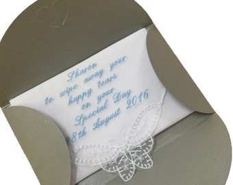 Personalised ladies handkerchief with gift pouch