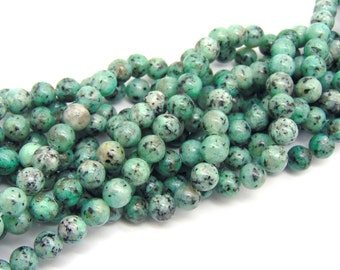 "8mm Smooth Aquamarine Sesame Jasper beads, 15"" strand, genuine gemstone beads, mala beads, round smooth jasper, spotted jasper,  #R8S-013"