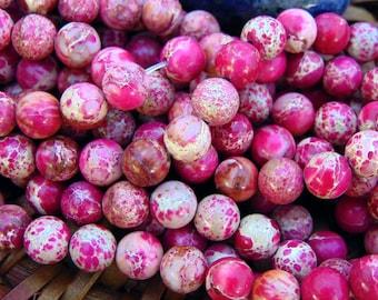 "8mm Smooth Pink Sea Sediment Jasper Beads, 15"" strand, Imperial Emperor Jasper, Aqua Terra Jasper, Pink Gemstone Beads, Pink Stone #R8S-076"