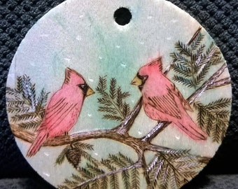 "2.5"" Woodburned Ornament. ""Cardinals"""