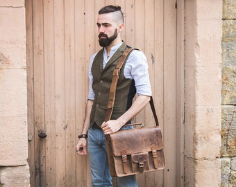 Shoulder Bag Leather Vintage Satchel 14 INCH, Laptop Bag