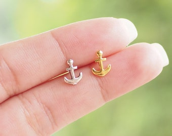 Anchor Earrings, Tiny Anchor Stud Earrings, Nautical Earrings Jewelry, 925 Sterling Silver, Everyday Jewelry Gift - SB13-14