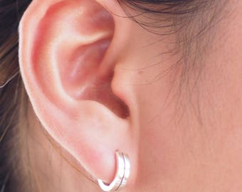12 mm - Line Hoop Earrings, 925 Sterling Silver, Huggie Hinged Hoop Earring, Cartilage Hoops , Minimalist Jewelry, 20 gauge - MI.21/HP063