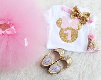 Minnie Mouse 1st Birthday, Pink Gold Minnie Mouse outfit, minnie mouse outfit, Pink gold party, First Birthday baby girl, cake smash.