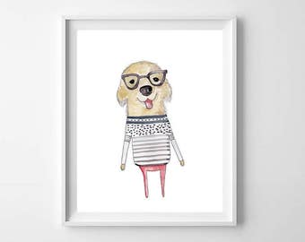 Cute Puppy Watercolor Print - Golden retriever Wall Art - Golden Retriever Art - Whimsical Art Print - Cute Puppy Print - Puppy With Glasses