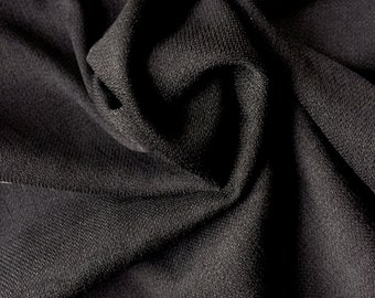 Black Stretch Linen | Black Polyester Spandex Woven Fabric by the Yard