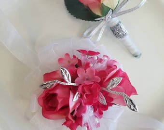 Prom Corsage Pink White Silver Wrist Corsage and Matching Boutonniere Ready to Ship