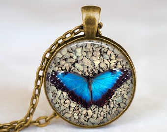 Blue Butterfly - Handmade Pendant Necklace