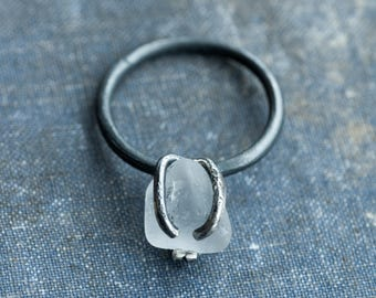 rustic primitive sea-glass ring, oxidised  steriling silver prong-set seaglass ring size 6, 75