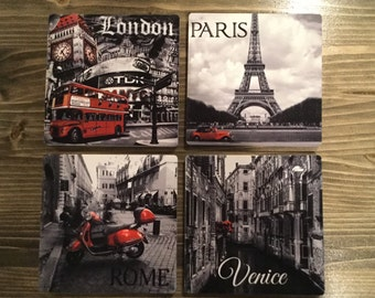 Travel Coasters Europe Black White Red Ceramic Sandstone London Paris Rome Venice Italy France