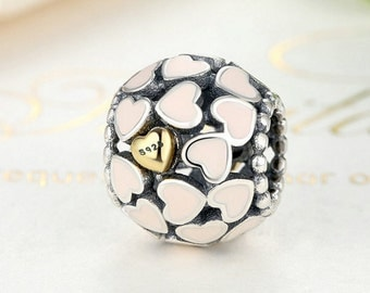 Sterling 925 silver charm pinky heart bead fits European charm bracelet