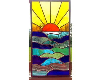 Stained Glass Sunset and Sea Panel, Window