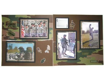 Army Scrapbook Pages - Army Layout - Military Pages - Military Premade Scrapbook Pages - Army Scrapbook Layouts - Army Wife - Army Mom