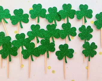 Shamrock Cupcake Toppers • Glitter Shamrocks • St. Patrick's Day Party