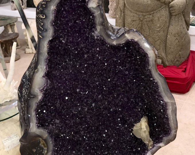 "Amethyst Geode Fully Polished w/ HUGE Calcite Point 45"" Tall X 25"" Wide Home Decor \ Metaphysical \ Fung Shui \ Crystal \ Home Decor \ Reiki"