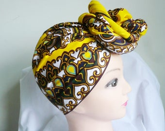 Yellow and Brown Regina Ankara Head wrap, DIY head tie, Stylish African head scarf, Fabric hair accessory – Made to Order