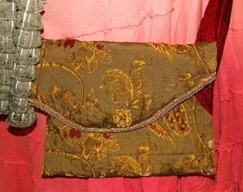 Elegant Purse Glam Cross body Bag eco clothing restyled refashioned altered embroidered silk mans tie embellished olive green burgundy boho