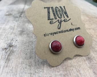 Red Resin Stud Earrings 8mm Stainless Steel