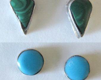 Vintage 2 Pairs — Green Malichite & Turquoise Stone Inlay Silver Post Earrings