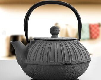 Cast İron Teapot, Grey Teapot, Hand Painted Teapot Gift