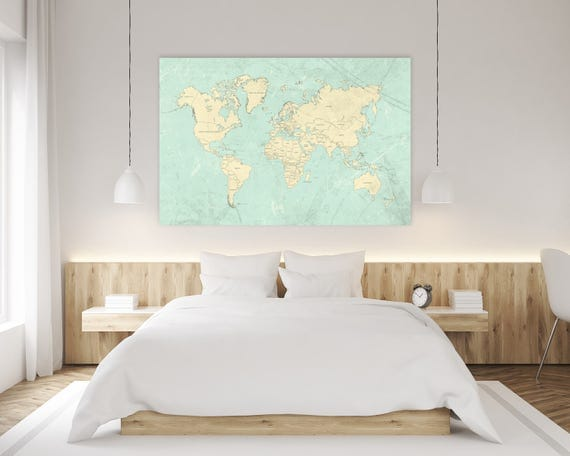World map canvas print vintage teal mint ivory pastel light like this item gumiabroncs Image collections