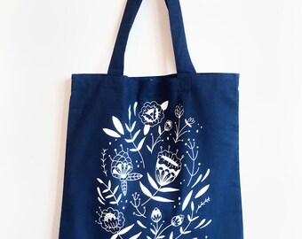 Bloom Navy Tote Bag