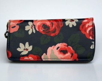 Womens Wallet, Leather Wallet, Black Floral Wallet, Floral printed Purse, Floral Leather Purse, Floral Leather Wallet.
