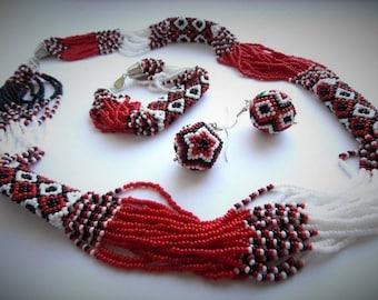 Most popular Ukrainian jewelry. Ukrainian National Embroidery Necklace.Best gift idea. Patriotic Ukrainian Set.
