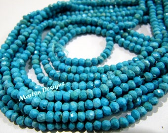 Top Quality Natural Turquoise Beads , Rondelle Faceted Semi Precious Gemstone Beads , 3-4mm Size Turquoise Beads , Strand 13.5 inch long